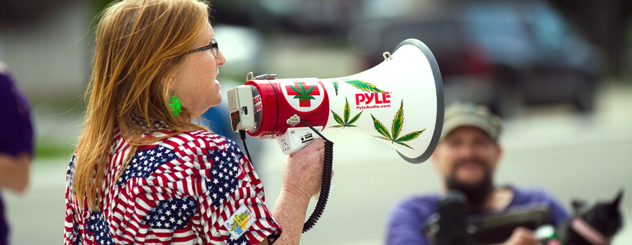 cannabis demonstratie staten van de VS gelegaliseerd Trump